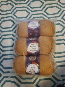 3 Pack Lion Brand Yarn 761-124 24-7 Cotton Yarn Camel