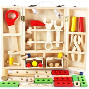 Kids Wooden Carpenter Tool Set Box Children Boy Pretend Play Set Natural Timber