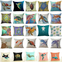 "18"" Sea Turtle Cotton Linen Sofa Cushion Cover Throw Pillow Case Home Decor"