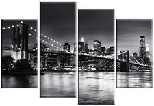 LARGE NEW YORK PICTURE SKYLINE BLACK & WHITE SPLIT CITY CANVAS ART 4 PANEL 100cm