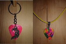 Keychain/Necklace Combo Multi&Pink Picks / Fancy Moon & Star Charms/ Yellow Cord