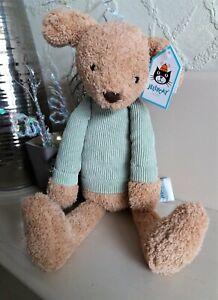 BNWT ~ Jellycat ~ Jumble Puppy ~ Green Top / Tan Body Soft Hug Dog Toy