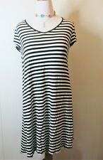 OSO Casuals Black & White Striped Dress Stretchy!  Triple Tie Accent   Size XL
