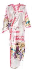 (810305) Bianco Donna Lunghi in Raso Seta sentono Kimono Robe Vestaglia 12-18 UK