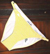 Women's Lacoste Swimwear Yellow & White Striped Bikini Bottom Size 8 MSRP$55 NWT