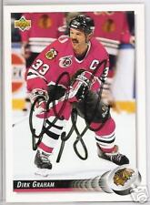 DIRK GRAHAM 1993 UPPER DECK CHICAGO BLACKHAWKS  AUTOGRAPHED HOCKEY CARD JSA