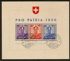 Svizzera: 1936 difesa nazionale fondo miniatura Foglio SG ms367 BELLE USATO