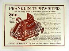 Poster de la máquina de escribir Franklin. 69x50 cm. Typewriter schreibmaschine