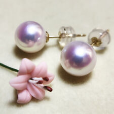 Top Quality 7.5-8 MM real round SOUTH SEA white PEARL Dangle EARRINGS 18K