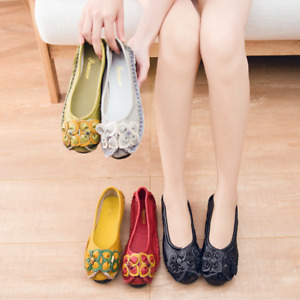 Women Retro Floral Flat Heel Loafers Round Toe Slip On Boat Shoes Comfort Casual