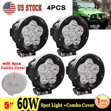 """4X 5"""" 60W Round LED Work Light Spot Driving Fog Lamp Offroad SUV + Combo Cover"""