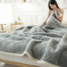 Flannel Luxury Bed Fleece Blanket Reversible Soft Queen Velvet Quilted Throw New