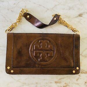 TORY BURCH Solid Metallic Brown Leather Clutch Shoulder Bag Large Logo