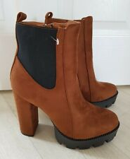 TAN SUEDE BOOTS size 6 heels CHUNKY HEEL black DAY VINE platform MID CALF brown
