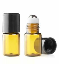 72 MINI AMBER 2mL Metal Micro Roller Ball Bottle Refillable Roll On Glass