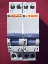 Réf 20723 LOT 2 DISJONCTEURS MAGNETO THERMIQUE MERLIN GERIN D'CLIC 1P+N 6A C