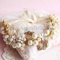 Vintage Floral Gold Leaves Pearl Wedding Hair Tiara Bridal Headpiece Headband