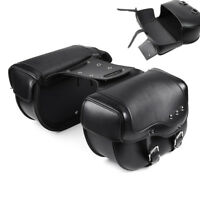 For Sportster Victory Motorcycle Saddlebag Pannier Case Black PU Leather