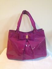 Authentic Salvatore Ferragamo Handbag Tote Patent Leather Magenta Miss Vara
