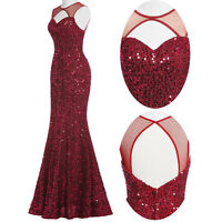 Red Sequin Mermaid Long Evening Gown Dress Party Bridesmaid Prom Wedding Banquet