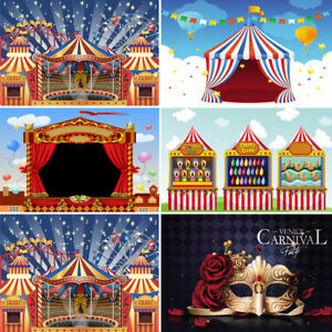 Vinyl Cartoon Circus Tent Photography Backdrop Glitter Star Carnival Background