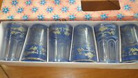 Vintage Juice glasses Blue gold design Verres a The de Lux NOS 6 6 oz glasses