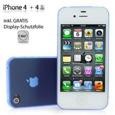 Apple IPHONE 4 4s Tapa Trasera Ultra Delgado Mate Transparente Incl. Lámina Azul
