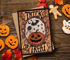 Trick Or Treat Greetings Card & Envelope - Halloween Candy Corn Samhain Pumpkin