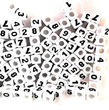 100pcs cube white number 0-9 acrylic beads 7mm