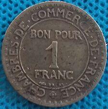 """PIÈCE MONNAIE """" BON POUR 1 FRANCS """" COMMERCE INDUSTRIE 1923   Ref : 0020"""