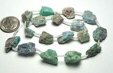 "12"" Strand BLUE GREEN TOURMALINE Paraiba Indicolite 8-15mm Rough Nugget Beads NA"