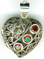 925 Sterling Silver Garnet & Marcasite Heart Locket / Pendant    Length 1.1/5""
