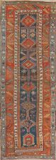 Pre1900 Antique Vegetable Dye BLUE Kazak Caucasian Tribal Russia Runner Rug 4x10