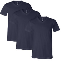 MENS T Shirt V NECK S M Pack Of 3 NAVY BLUE 100% COTTON BRAND NEW