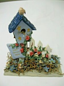 "Decorative Birdhouse LOVE GROWS HERE Resin Tabletop Freestanding 6 1/2"" X 6 1/2"""