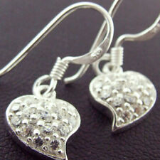 EARRINGS GENUINE REAL 925 STERLING SILVER DIAMOND SIMULATED HEART DANGLY DESIGN