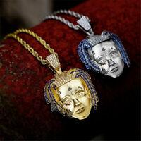 Hip-Hop Men's 18K Gold Plated AAA+ CZ Rapper XXXTentacion Pendant Chain Necklace