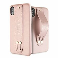 Guess Saffiano Strap iPhone XS Max SCHUTZHÜLLE Back Case Cover Rosa