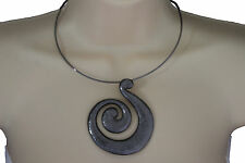 Women Pewter Black Choker Necklace Thin Metal Snail Spin Swirl Fashion Jewelry