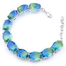 Elegant Jewelry Gift Oval Cut Emerald Topaz Gemstone Silver Charming  Bracelets