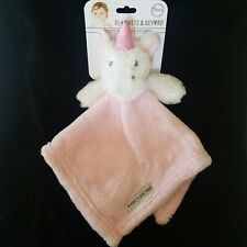 Blankets & Beyond White Unicorn Horse Pink Security Blanket Soft Plush Lovey Toy