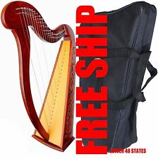 "Large 35"" INCH DEURA 22 STRINGS HARP + BAG Tuning Key Irish Celtic Lap Folk"