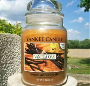 """Yankee Candle Retired """"VANILLA OAK"""" ~Fresh~ Large 22 oz ~ WHITE LABEL~ RARE ~NEW"""