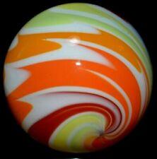 "HANDMADE GLASS MARBLE/1.460""-CITRUS WIG-WAG TWIST-ORANGE,APRICOT,DK CHILI-PEPPER"