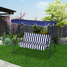 More details for 3 seater swing chair patio garden hammock with canopy cushion outdoor bench seat