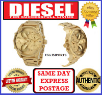 DIESEL DZ7399 MR DADDY 2.0 Gold Multiple Time Zone Chronograph Mens Wrist Watch
