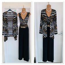 FRANK LYMAN Black Shimmering 2 Piece Outfit Uk Size 14/ Jumpsuit & Jacket