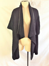 ST. JOHN Caviar Black Leather Trim Wool Cable Knit Drape Cardigan Sz M