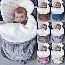 Newborn Baby Knit Swaddle Stroller Wrap Blanket Warm Infant Sleeping Bag LA