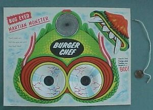 1960s Era Burger Chef Bug Eyed Martian Monster punchout Halloween mask-3-D Eyes!